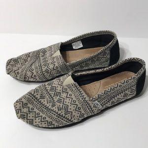Toms Alpargata Aztec Tribal Wool Slip Ons Sz 9